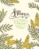 8 march. Happy Woman`s Day! Senna flowers. 8 march. Happy Woman`s Day! Vector congratulation card with senna flowers Royalty Free Stock Images