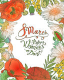 8 march. Happy Woman`s Day! Vector floral frame Stock Images