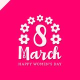 March 8 Happy womans day lettering greeting card with flower. Vector illustration Stock Photos