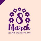 March 8 Happy womans day lettering greeting card with flower. Vector illustration Stock Images