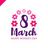 March 8 Happy womans day lettering greeting card with flower. Vector illustration Royalty Free Stock Photography