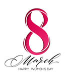 March 8 Happy womans day lettering greeting card. Vector illustration Royalty Free Stock Images