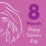 8 March a Happy Women Day greeting card. 8 March Women Day pink greeting card Stock Photo