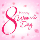 8 March Happy Women Day hearts greeting card template. Happy Women Day lettering 8 March on light pink hearts background Stock Image