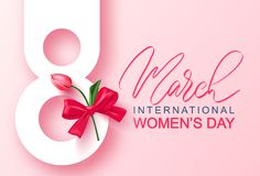 8 March Happy Women`s Day banner. Beautiful Background with tulip and bow. Vector illustration for postcards,posters vector illustration
