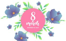 March 8, Happy Women`s Day. Banner with modern trendy flowers and script lettering 8 March.  Stock Photos