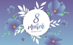 March 8, Happy Women`s Day. Banner with modern trendy flowers and script lettering 8 March.  Stock Photo