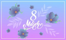March 8, Happy Women`s Day. Banner with modern trendy flowers and script lettering 8 March.  Stock Photography
