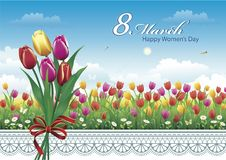 March 8 Happy Women`s day. Beautiful postcard for women with a bouquet of spring tulips on a flower meadow background.  Vector illustration Stock Image