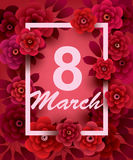 8 March. Happy Women`s Day card with flowers Royalty Free Stock Images