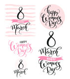8 March. Happy Women`s Day. Collection of beautiful handwritten words and hand drawn elements in pink color. Vector. Illustration for banner, header, greeting Stock Images