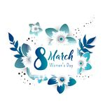 8 march Happy. Women`s Day. Color flyer for March 8 with the decor of paper cut flowers.Happy Women`s Day. Trendy Design Template. Vector illustration royalty free illustration