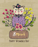 8 march. Happy Women`s Day. Colorful greeting background with cute cat in flowers. Spring holiday. Sketch of animal. Card, postcard, invitation or poster Royalty Free Stock Images