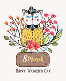 8 march. Happy Women`s Day. Colorful greeting background with cute cat in flowers. Spring holiday. Sketch of animal Stock Images