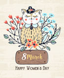 8 march. Happy Women`s Day. Colorful greeting background with cute cat in flowers. Spring holiday. Sketch of animal Royalty Free Stock Image