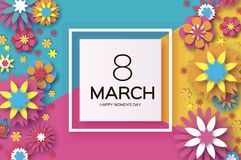 8 March. Happy Women`s Day. Colorful Paper cut Floral Greeting card. Origami flower .Square frame. text. Happy Mother`s. Day. Text. Spring blossom. Seasonal Royalty Free Stock Photography