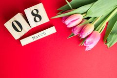 8 March Happy Women`s Day concept. With wooden block calendar and pink tulips on red background. Copy space. 8 March Happy Women`s Day concept. With wooden block Royalty Free Stock Photo