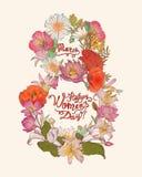 8 march. Happy Women`s Day!. 8 march congratulation card. Happy Women`s Day royalty free illustration