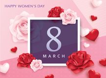 International Women`s Day. March 8, Happy Women`s Day design with 3D hearts and roses Royalty Free Stock Images
