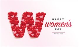 International Women`s Day. March 8, Happy Women`s Day design with pink and red 3D hearts Stock Images