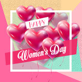 Womans Day retro. Happy Women`s Day, Mothers Day, Valentines Day, Wedding day Greeting card, invitation, poster, sale banner, flyer design, template. 8 March Royalty Free Stock Photos
