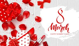 8 March - Happy Women s Day Festive Card. Beautiful Background with gift boxes in heart shape, rose petals, bow. Lipstick and serpentine on wooden texture Stock Images