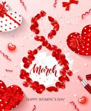 8 March - Happy Women s Day Festive Card. Beautiful Background with gift boxes in heart shape, rose petals, bow. Lipstick and serpentine. Vector Illustration Stock Images