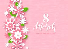 8 March Happy Women`s Day Festive Card. Beautiful Background with paper flowers. Vector Illustration. 8 March Happy Women`s Day Festive Card. Beautiful stock illustration
