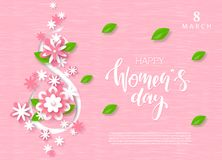 8 March Happy Women`s Day Festive Card. Beautiful Background with paper flowers. Vector Illustration. 8 March Happy Women`s Day Festive Card. Beautiful royalty free illustration