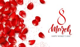 8 March - Happy Women s Day Festive Card. Beautiful Background with rose petals. Vector Illustration. 8 March - Happy Women s Day Festive Card. Beautiful stock illustration