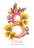8 march. Happy Women`s Day. The figure eight braided flowers. Card design with hand drawn floral ornament. 8 march. Happy Women`s Day. The figure eight braided Stock Photography