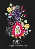 8 March. Happy Women`s Day. Floral figure of eight. Spring holiday. Creative hand drawn colorful abstract flowers. Design of card, postcard, poster or Stock Illustration