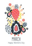 8 March. Happy Women`s Day. Floral figure of eight. Spring holiday. Creative hand drawn colorful abstract flowers. Design of card, postcard, poster or Stock Photos