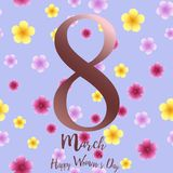 8 March. Happy Women`s day greeting card with colorful flowers. Vector.  vector illustration