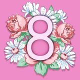 8 March. Happy women`s day greeting card, floral banner, holiday vector background. Pink 8 on a hand drawn floral. Ornament from flowers of roses and chamomiles stock illustration