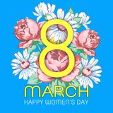 8 March, happy women`s day greeting card, floral banner, holiday vector background. Yellow 8 on a hand drawn floral. Ornament from flowers of roses and royalty free illustration