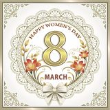 March 8. Happy Women`s Day. March 8. Greeting card with flowers for beautiful women. Vector illustration Stock Photo