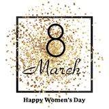 8 March. Happy Women`s day greeting card with gold sparkles. Vector. 8 March. Happy Women`s day greeting card with gold sparkles. Vector vector illustration