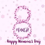 8 March. Happy Women`s day greeting card with handwritten lettering pink text and flowers. Vector.  royalty free illustration