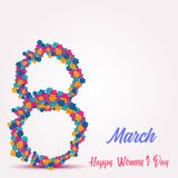 8 March. Happy Women`s day greeting card with handwritten lettering pink text and flowers. Vector.  stock illustration
