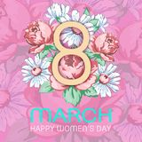8 March. Happy women`s day greeting card, holiday vector floral banner. Yellow 8 on a hand drawn floral ornament from. Flowers of roses and chamomiles on a vector illustration