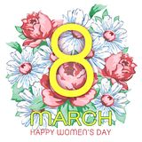 8 March, happy women`s day greeting card, holiday vector floral banner. Yellow 8 on a hand drawn floral ornament from flower of r. Ose and chamomiles, bud, petal Royalty Free Stock Photography