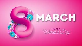 8 March. Happy Women`s Day Greeting card. International Holiday Illustration with Shiny 3d Eight on Pink Background. Vector Template vector illustration