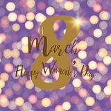 8 March. Happy Women`s day greeting card with lights . Vector.  stock illustration