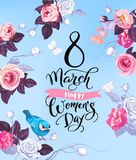8 March. Happy Women`s Day greeting card. Lovely hand lettering surrounded by half-colored roses, butterflies and cute. Bird sitting on stalk against blue royalty free illustration