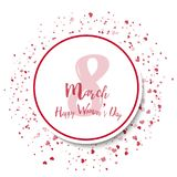 8 March. Happy Women`s day greeting card. With red confetti on white. Vector royalty free illustration