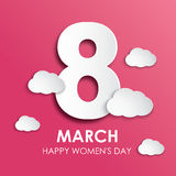 8 March happy women`s day greeting card in paper style Stock Images