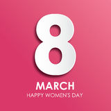8 March happy women`s day greeting card in paper style Stock Photography