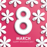 8 March happy women`s day greeting card in paper style Stock Photos
