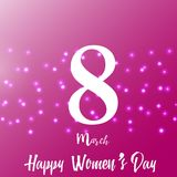 8 March. Happy Women`s day greeting card with sparkles on red. Vector.  stock illustration